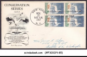 UNITED STATES USA 1957 WILDLIFE CONSERVATION / BIRDS / CRANE BLK-4  FDC