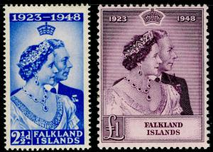 FALKLAND ISLANDS SG166-167, ROYAL SILVER WEDDING set, NH MINT. Cat £92.