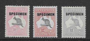 Australia 127-29  1935    SPECIMEN  unused set 3