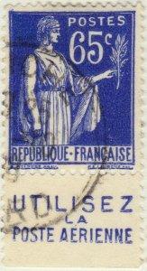 FRANCE - 1937 Pub UTILISEZ LA POSTE AERIENNE inférieure /Yv.365b 65c Paix (A3)