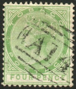 TOBAGO-1880 4d Yellow-Green Sg 10 FINE USED V48592