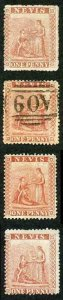 St Kitts Nevis 1d red selection 1 used and 3 x un-used (no gum)