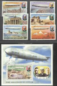 Madagascar 1976 Zeppelins, set+perf. sheet, used    M.279