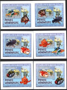 {129} Mozambique 2007 Fishes 6 S/S Deluxe MNH**