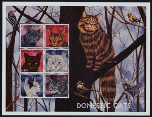 Sierra Leone 2039 MNH Domestic Cats, Birds