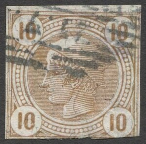 AUSTRIA 1901  Sc P13a  10h Newspaper stamp Used  VF w/varnish bars, cv $8