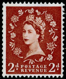 SG613, 2d light red-brown (1 band), NH MINT. Cat £22. PHOSPHOR.