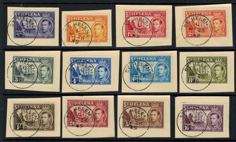 ST. HELENA SG131/9 1938-44 DEFINITIVE SET TO 10/ CTO ON PIECE