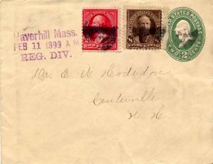 United States Massachusetts Haverhill Reg. Div. 1899 violet sl, black cork ki...