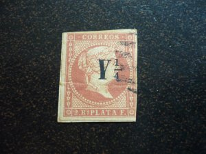 Stamps - Cuba - Scott# 15 - Used - Surcharged - Imperf