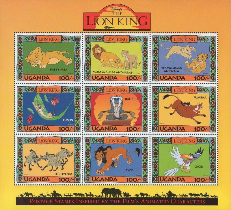 Uganda Lion King Film Characters Souvenir Sheet of 9 Stamps Mint NH