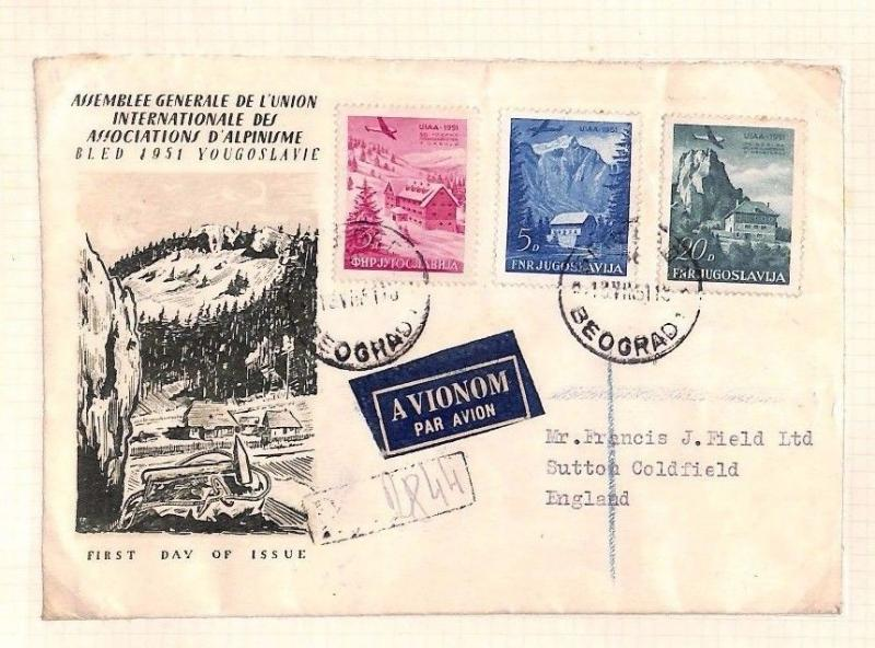 Ap280 First Day Cover 1951 YUGOSLAVIA Mountaineering FDC [Original Album Page]