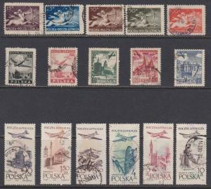 16 Different Poland Airmail Stamps issued 1946 to 1958 F-VF used - I Combine S/H