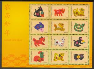 ANTIGUA 2011 CHINESE NEW YEAR SHEET of 12 Sc 3177 MNH