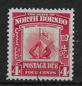 NORTH BORNEO SGD86 1939 4c SCARLET POSTAGE DUE USED