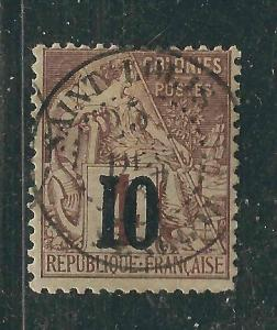 Senegal 12 Yv 3a 10c on 4c Claret/yellowish SOTN Signed F/VF 1887 SCV $120.00
