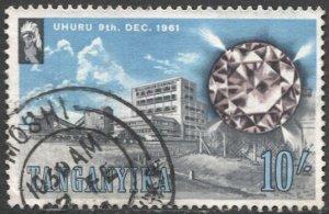 TANGANYIKA 1961 Sc 55  10s Used VF Diamond Mine - Gem Stone