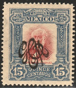MEXICO 490 15¢ CARRANZA MONOGRAM REVOLUT OVPERPRINT UNUSED, H OG. VF.
