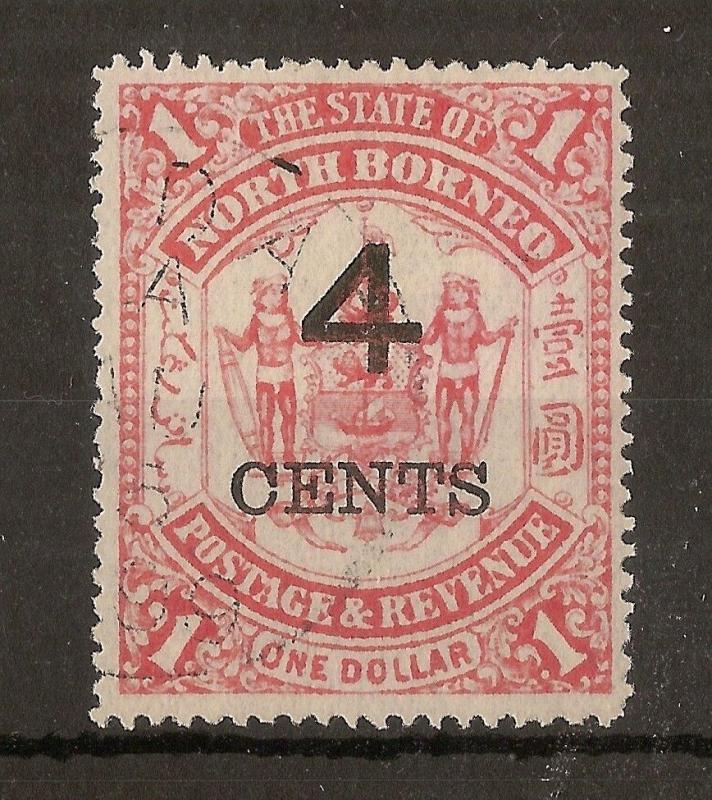 North Borneo 1899 4c on $1 SG121 Fine Used