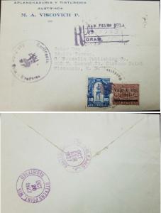 L) 1927 HONDURAS, DIONISIO DE HERRERA, SCOTT A24, 10C BLUE, SURGCHARGED, 6C, SAN
