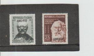 Trieste  Scott#  160-161  MH  (1952 Overprinted)