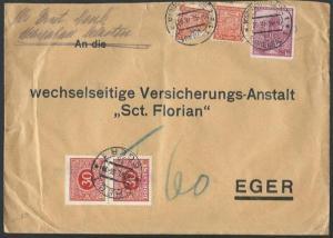 CZECHOSLOVAKIA 1936 cover Marienbad to Eger - postage dues.................61277