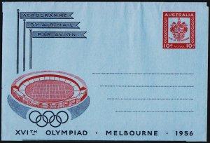 Australia. 1956 10d XVI Olympiad Aerogramme. UnUsed