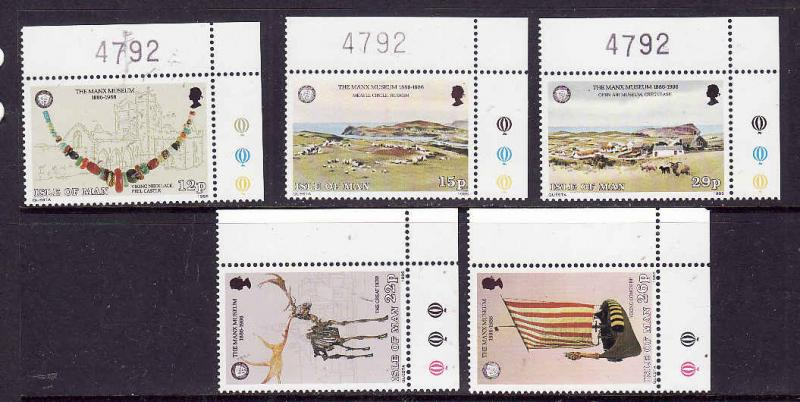 Isle of Man-Sc#301-5-unused NH set-Artifacts-Architecture-1986-