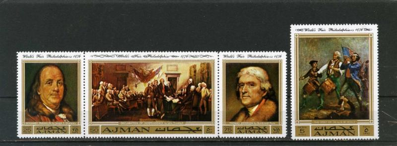 AJMAN 1971 Mi#1028-1031A PAINTINGS AMERICAN HISTORY SET OF 4 STAMPS MNH