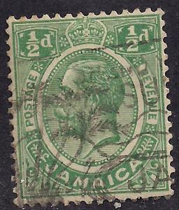 Jamaica 1921 - 27 KGV 1/2d GREEN USED STAMP SG 89a. ( J181 )