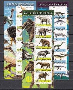 Benin, 2003 Cinderella. Dinosaurs on 3 sheets of 6. ^