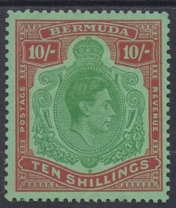 BERMUDA 1938 KGVI 10/- PERF 13