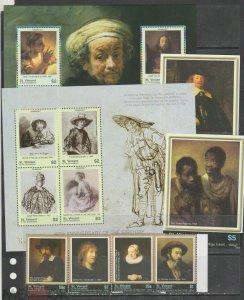 St Vincent and Grenadines 2006 Rembrandt art paintings  set+2s/s+2klb MNH