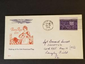 1944 Sioux City Iowa Langley Virginia Air Force Base Betsy Ross Patriotic Cover