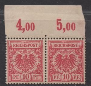 **Germany, SC# 48 MNH, VF, Pair w/ Inscription, Short Perfs, DG on Left Stamp