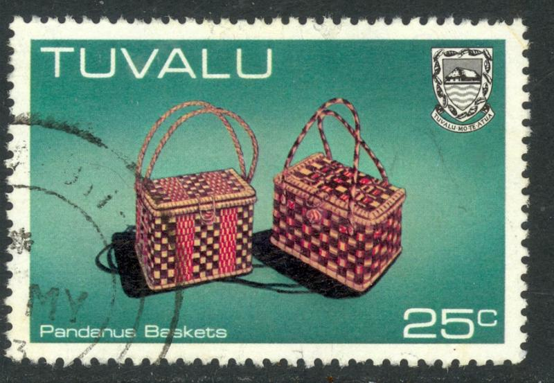 TUVALU 1983-84 25c Pandanus Baskets Handicrafts Issue Sc 188 VFU