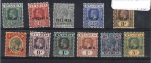 St Lucia SG #78s - #88s VF Mint Specimen Set