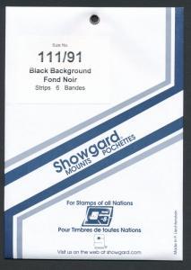 Showgard Stamp Mount 111/91 BLACK Background Pack of 6