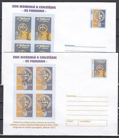 Romania, 2001 issue. 032-33/2001. Scouting on 2 Postal Envelopes.^