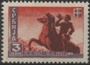 Serbia 2N42 (mh) 3d post rider, cop red & gray lilac (1943)