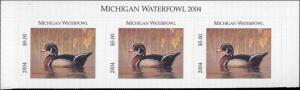 MICHIGAN #29T 2004 STATE DUCK STAMP TOP STRIP OF 3 WOOD DUCK  by Tim Macdonald