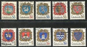 Czechoslovakia Scott 2398-400,2499-02,2542-44 UVFNHOG(CTO) -City Arms -SCV $2.50