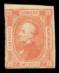 MEXICO 1872  Hidalgo 25c red - St.Louis Forgery Transfer Type 4 (Sc# 95)