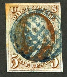 U.S. #1 USED BLUE CANCEL