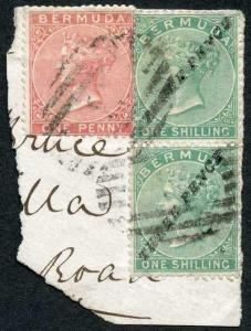 Bermuda SG13 3d on 1/- green vertical pair in combination with 1865 1d. rose-re