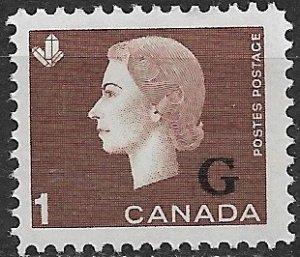 1963 Canada O46 Overprinted Official 1¢ Queen Elizaebth MNH