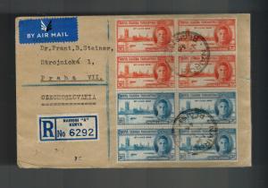1946 Nairobi Kenya KUT Registered cover to Prague Czechoslovakia