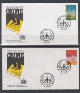 UN Vienna 106-107 Crime Prevention UN Postal Administration U/A Set of Two FDC