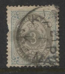 Denmark - Scott 25 - Definitive Issue -1875 - Used - Single 3s Stamp
