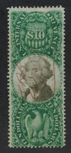 UNITED STATES R149 USED, $10 GREEN F- VF,